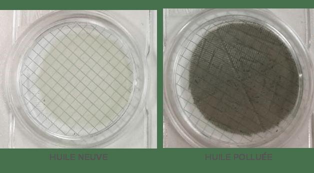 comparaison huile neuve / huile polluée